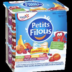 Fromage frais pasteurisé aromatisé panaché PETITS FILOUS, 18x50g