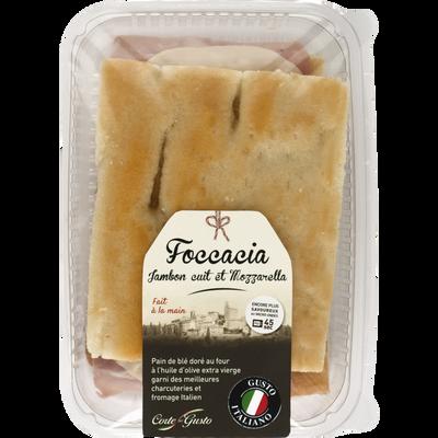 Foccacia jambon cuit et mozzarella CORTE DEL GUSTO, 130g