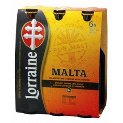 Boisson maltée sans alcool, MALTA LORRAINE, pack de 6x33cl
