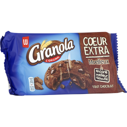 GRANOLA cookies coeur extra moelleux tout chocolat Lu, 182g