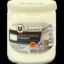 Crème fraîche d'Isigny épaisse 40%MG AOP U SAVEURS, pot en verre de 40cl