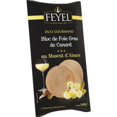 Bloc foie gras de canard au muscat d'Alsace mi-cuit FEYEL, étui 2 tranches de 40g soit 80g