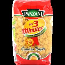 Pâtes coudes rayés cuisson rapide PANZANI, 500g