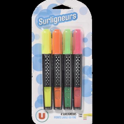 4 surligneurs fins U, encre liquide, x4, coloris assortis : jaune,orange, vert, rose