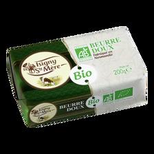 Beurre doux bio ISIGNY STE MERE, 82% de MG, plaquette de 200g