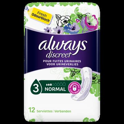 Serviettes incontinence normal, ALWAYS, paquet de 12