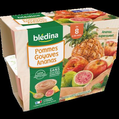 Coupelles pommes goyaves ananas BLEDINA, de 8 à 36 mois, 4x100g