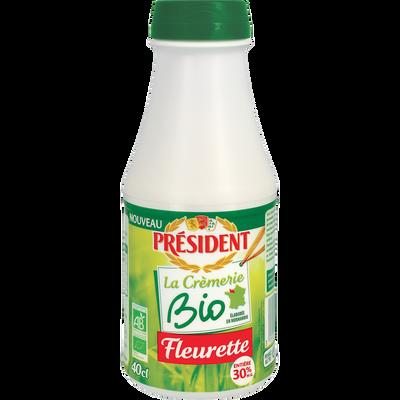 Crème fleurette BIO PRESIDENT, 30% de MG, bouteille de 40cl