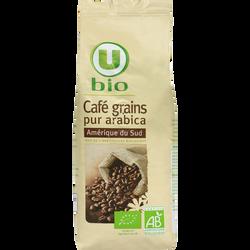 Café Amérique du sud en grains U BIO, sachet de 250g