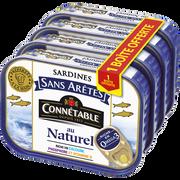 Connetable Sardine Ss Arêtes Naturel Connetable, 3 Boîte 98g+1 Offert Soit 392g
