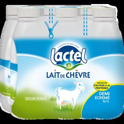 Lait de chèvre demi-écrémé uht, LACTEL, 6 bouteilles de 1 litre