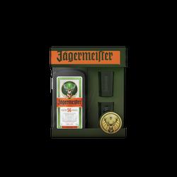 Coffret liqueur de plantes JAGERMEISTER, 35°, 70cl+2verres