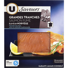 Saumon fumé de Norvège tranché main U SAVEURS, 2 tranches, 100g