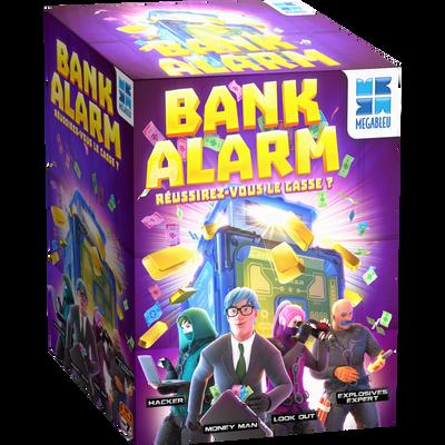BANK ALARM MEGABLEU-JEU COOPERATIF EN EQUIPE COMPOSEE DE 4 PERSONNES-MISSION:REUSSIR EN 5 MINUTES LE CASSE DU SIECLE !SANS DECLENCHER L'ALARME-5 NIVEAUX DE JEUX-DES 5 ANS