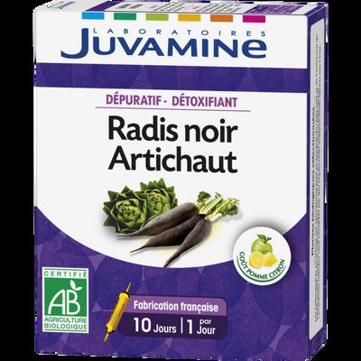 Dépuratif Détoxifiant radis noir et artichaut JUVAMINE, 10 ampoules à boire