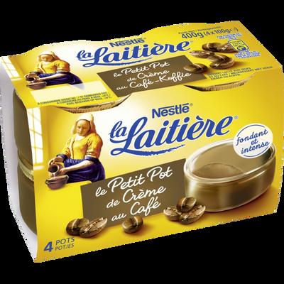 Dessert lacté aux oeufs au café Petit pot crème LA LAITIERE, 4x100g