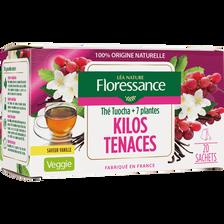 Thé tuocha et 7 plantes saveur vanille FLORESSANCE, boîte de 20 sachets, 30g