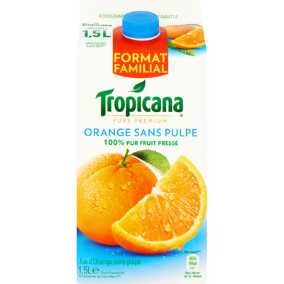 Pur jus réfrigéré orange sans pulpe TROPICANA, brique de 1.5l