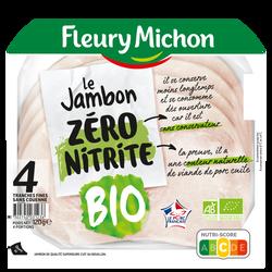 Jambon porc bio zéro nitrite FLEURY MICHON, 4 tranches fines soit 120g