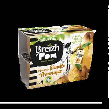 Breizh' Pom Breizh'pom Pomme Reinette D'armorique Sans Sucre Ajouté, 4x95g