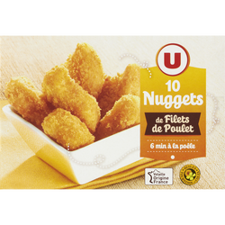 Nuggets de filet de poulet, U, France, 10 pièces, 200g