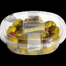 Olive verte dénoyautée à la sicilienne, barquette 220g