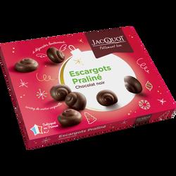 Escargots en chocolat noir au praliné JACQUOT, 24 unités, 300g