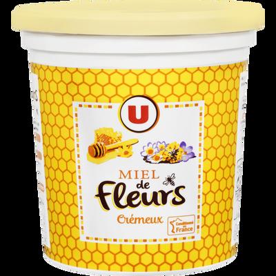 Miel de fleurs crémeux U, pot en plastique de 1kg