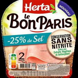 Jambon le bon Paris -25% de sel conservation sans nitrite HERTA 2 tranches 70g