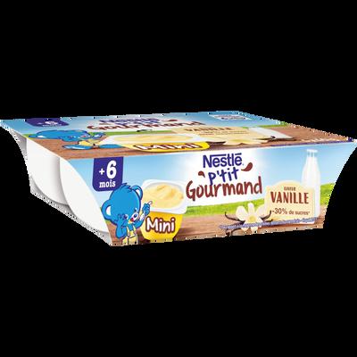 Dessert vanille p'tit gourmand NESTLE, dès 6 mois, 6x60g