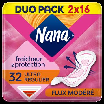 Nana Serviettes Ultra Normal Dryfast Nana, Jumbo Pack De 32