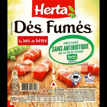 Herta Dés De Lardon Fumés Sans Antibiotiques Herta, 2x75g