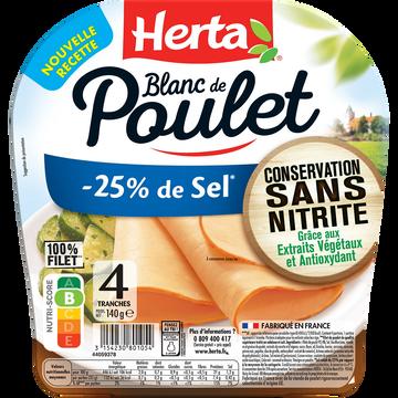 Herta Blanc Poulet -25% De Sel Conservation Sans Nitrite Herta 4 Tranches 140g