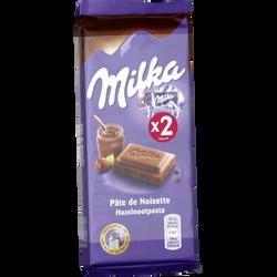 Tablette de chocolat au lait et à la pâte de noisettes MILKA, 2 unitésde 100g, 200g