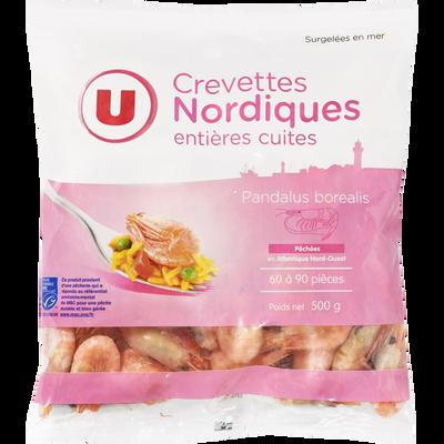 Crevettes nordiques entières cuites U, 500g
