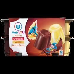 Dessert lacté gélifié au chocolat ou à la vanille panachés U MAT &LOU, 16X100g
