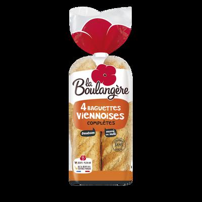 Baguettes viennoises complètes fendues LA BOULANGÈRE, x4 soit 340g
