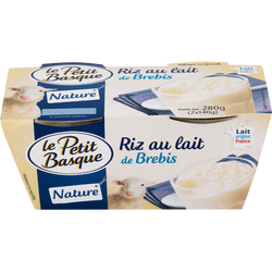 Riz au lait de brebis nature sucre, LE PETIT BASQUE, 2X140G