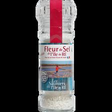 Fleur de sel LES SAUNIERS DE L'ILE DE RE moulin en verre rechargeable,80g