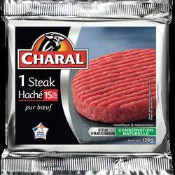 Steak haché, 15% MAT.GR, CHARAL, France, 1 pièce, 130g