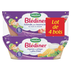 BLEDINER bols légumes du potager pâtes étoiles x2/ratatouille petits macaroni lait x2 dès 12mois 4x200g