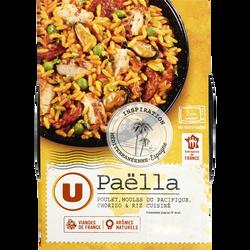 Paëlla au poulet moule du Pacifique chorizo et riz cuisiné U, 300g
