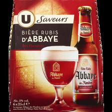Bière rubis Abbaye des Flandres arôme fruits rouges U SAVEURS, 5°, 6x25cl