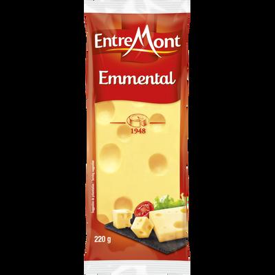 Emmental Français fromage à pâte pressée cuite au lait pasteurisé 29%mg ENTREMONT, 220g