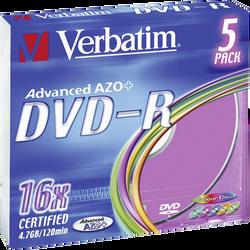 DVD-R VERBATIM 16X, 5 unités en boîtiers slim case colorés