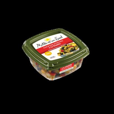 Olives dénoyautées façon à la diable piment et paprika MILLE ET UN SUD, barquette de 200g