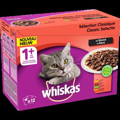 WHISKAS sélection viandes sauce volaille pour chat 1+ an, 12x100g