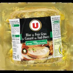 Bloc de foie gras de canard IGP du Sud-Ouest 30% de morceaux U, sous vide de 300g