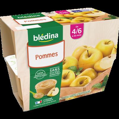 Coupelle 100% fruits pomme BLEDINA, de 4 à 36 mois, 4x100g