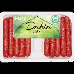 Merguez pur boeuf halal, DABIA, France, 18 pièces, barquette, 1kg